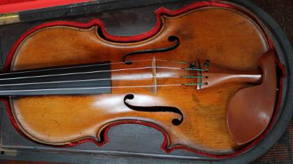 Neatly fitting viola in bespoke case